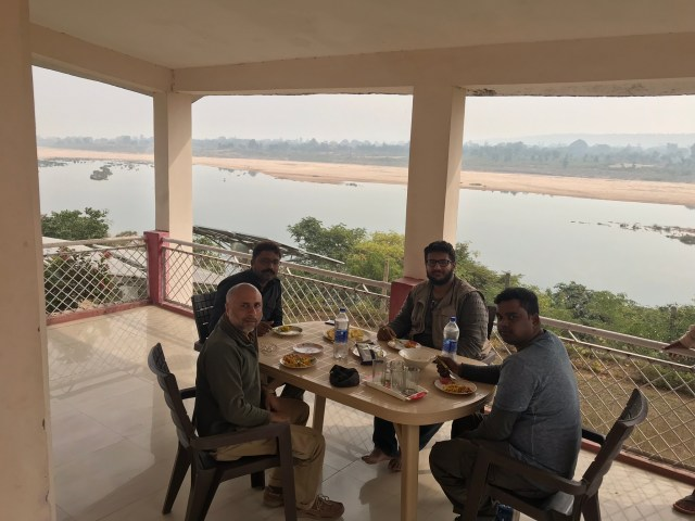 Sudhir having luch at the guest house